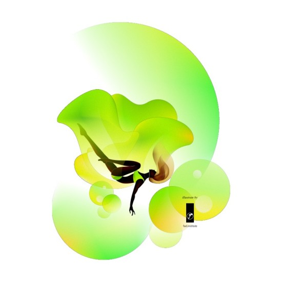 floaty green fresh fashion illustration by fad institute